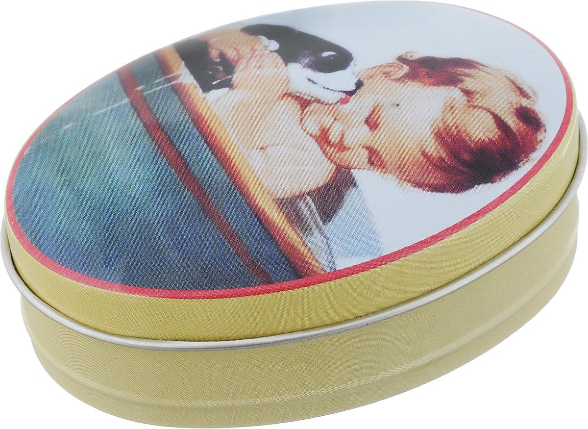 Шкатулка декоративная Феникс-Презент Мальчик, 8 х 6 х 2,3 см43715Декоративная шкатулка овальной формы Феникс-Презент Мальчик изготовлена из черного окрашенного металла и оформлена красочным изображением мальчика с собакой. В такой шкатулке удобно хранить различные мелочи и безделушки, а также конфетки-драже, аксессуары для шитья, бижутерию и многое другое. Крышка плотно закрывается. Такая шкатулка станет отличным сувениром для ваших друзей и близких.