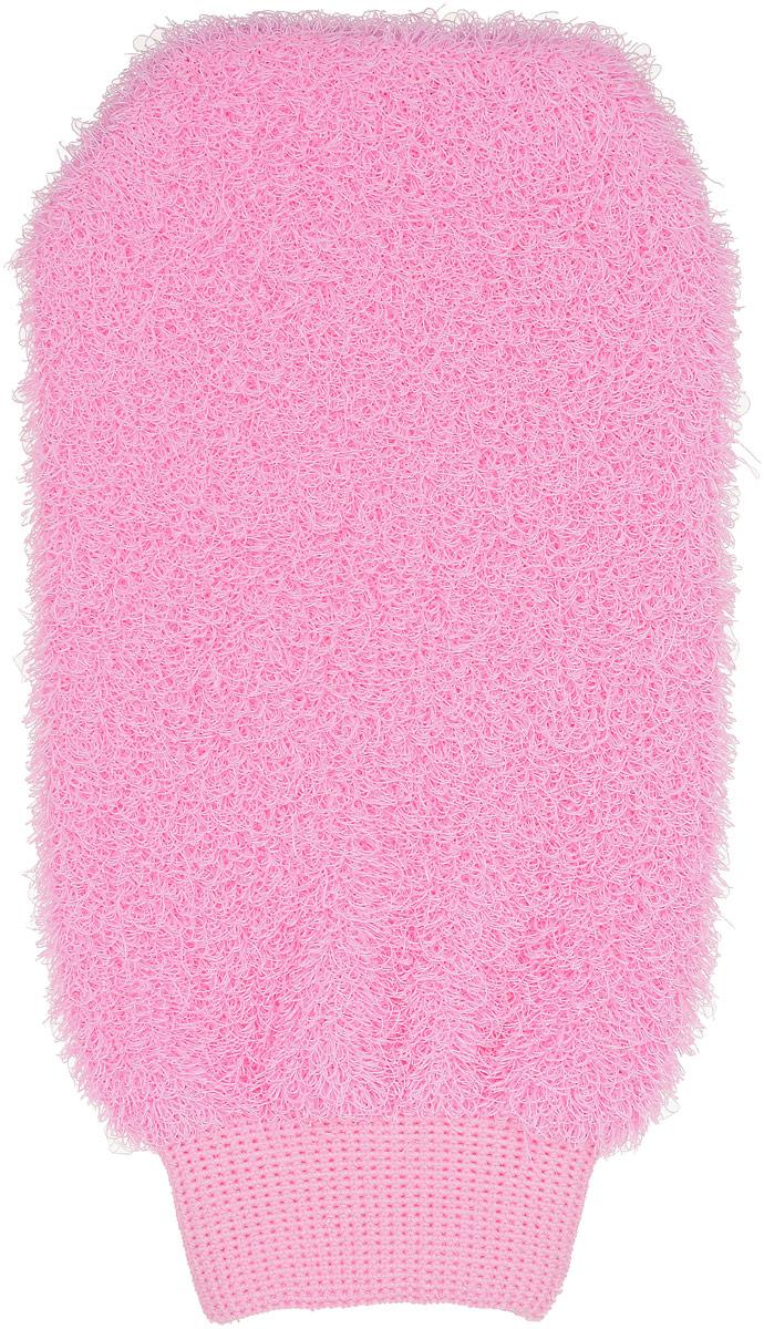 Мочалка-рукавица Riffi, жесткая, цвет: розовый