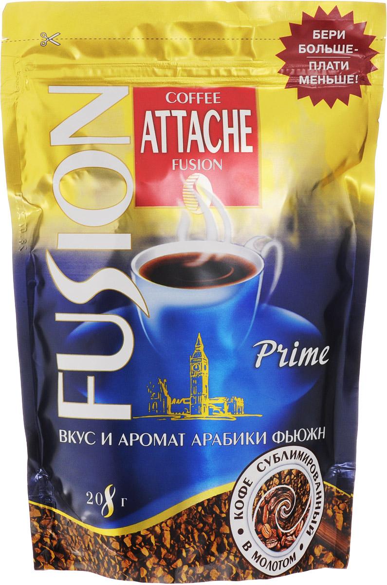 Attache Fusion Prime кофе растворимый, 208 г4600946001671Растворимый кофе Attache Fusion Prime - это уникальное слияние двух видов кофе - растворимого кофе и молотого. Уникальная технология напыления свежей натуральной Арабики тонкого помола на кристаллы растворимого кофе. В одном продукте скорость и удобство заваривания растворимого и живой аромат натурального кофе.