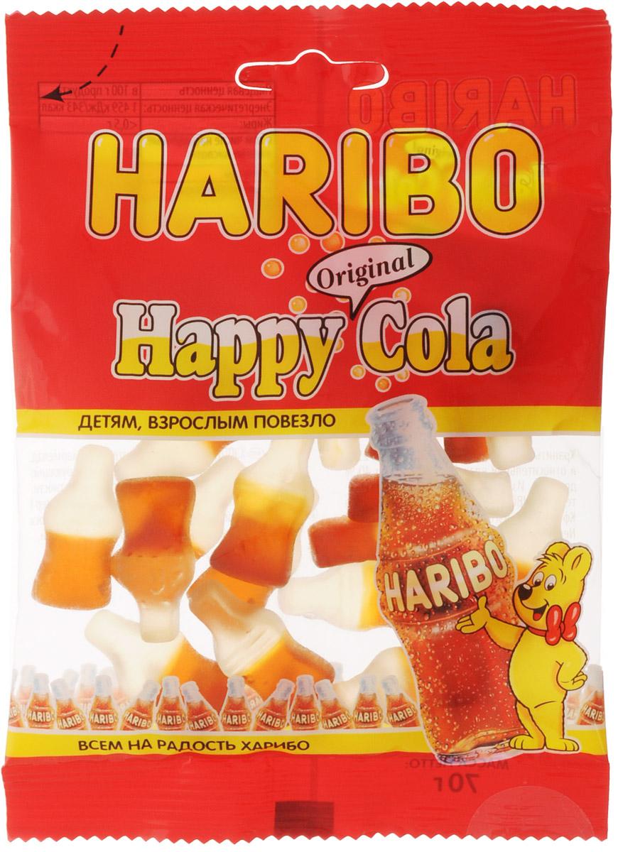 Haribo Happy Cola жевательный мармелад, 70 г31364Happy Cola Haribo - оригинальный формат в категории жевательного мармелада с насыщенным вкусом любимого всеми напитка!Его любят и взрослые, и дети!Haribo Happy Cola со вкусом колы - это настоящая классика в продуктовой линейке Haribo, ваш заряд энергии на целый день!Уважаемые клиенты! Обращаем ваше внимание, что полный перечень состава продукта представлен на дополнительном изображении.