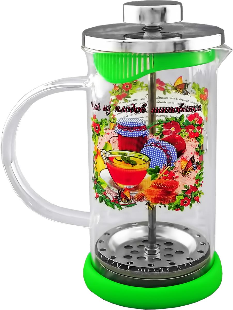 Френч-пресс LarangE Чай из плодов шиповника с силиконовой подставкой, 350 мл544210Френч-пресс LarangE Чай из плодов шиповника предназначен для приготовления кофе методом настаивания и отжима, а также для заваривания чая и различных трав. Центральный элемент френч-прессов - плунжер - представляет собой фильтр с ручкой, позволяющий эффективно отделять сырье от напитка при отжиме. Корпус и крышка выполнены из металла, колба изготовлена из термоупрочненного стекла.Специальная сеточка-фильтр эффективно задерживает чаинки и кофейный осадок. Объем френч-пресса: 350 мл.