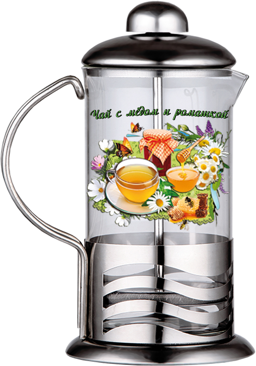 Френч-пресс LarangE Чай с медом и ромашкой, 350 мл5441109Френч-пресс LarangE Чай с медом и ромашкой предназначен для приготовления кофе методом настаивания и отжима, а также для заваривания чая и различных трав. Центральный элемент френч-прессов - плунжер - представляет собой фильтр с ручкой, позволяющий эффективно отделять сырье от напитка при отжиме. Корпус и крышка выполнены из металла, колба изготовлена из термоупрочненного стекла.Специальная сеточка-фильтр эффективно задерживает чаинки и кофейный осадок. Объем френч-пресса: 350 мл.