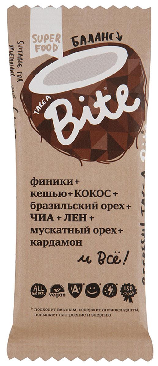 Take A Bite Кокос-Бразильский орех Баланс батончик фруктово-ореховый, 45 г take a bite абрикос миндаль detox батончик фруктово ореховый 20 шт по 45 г