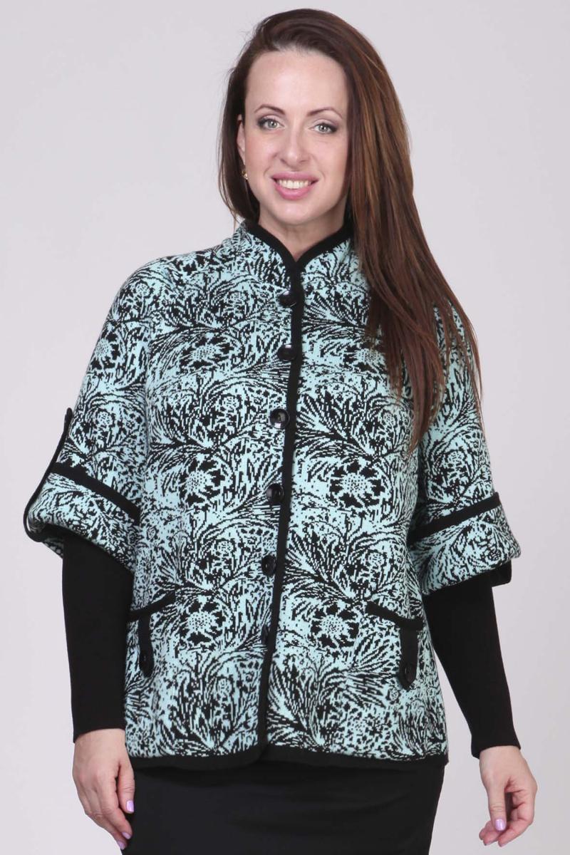 Кардиган женский Milana Style, цвет: черный, светло-голубой. 1213. Размер 10XL (68)