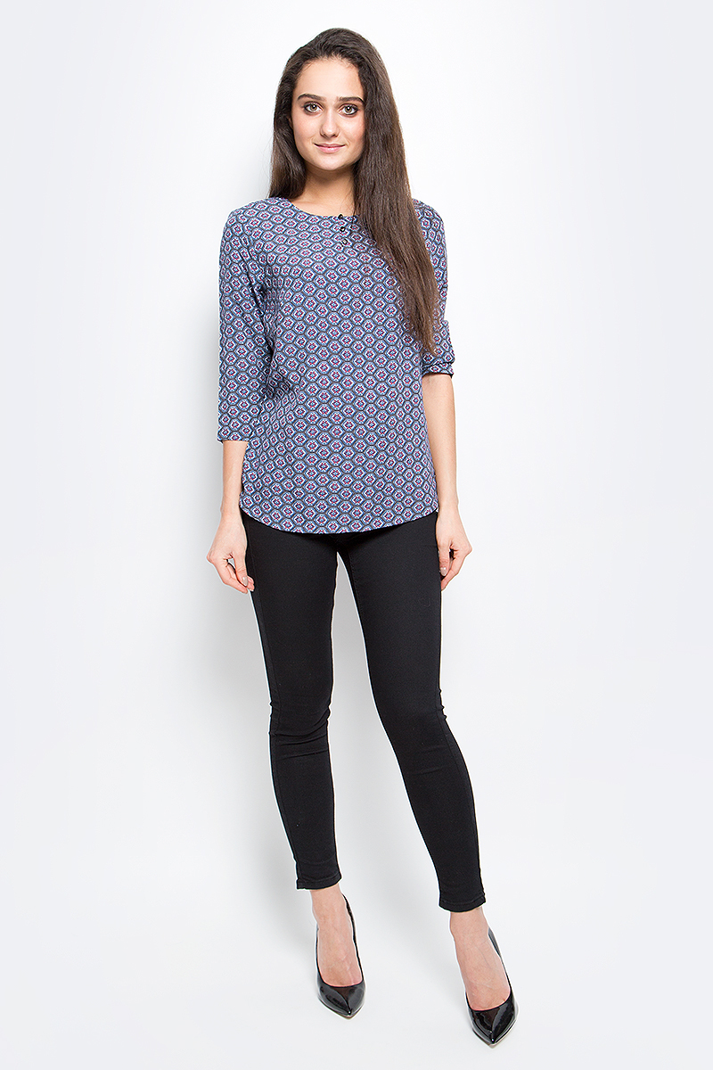 Блузка женская Finn Flare, цвет: серый, синий. B17-12070_205. Размер M (46) блузка женская finn flare цвет лиловый синий бежевый s16 14085 814 размер m l 46 48