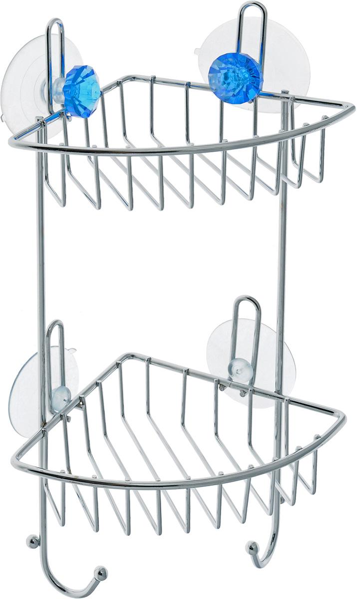 Полка для ванной Top Star Kristall, угловая, двухъярусная, на присосках, цвет: голубой, стальной, 14 х 19 х 34 см280884_голубойУгловая полка для ванной Top Star Kristall изготовлена из стали с качественным хромированным покрытием, которое на долго защитит изделие от ржавчины в условиях высокой влажности в ванной комнате. Изделие имеет два яруса и крепится к стене с помощью четырех присосок. Снизу расположены два крючка для полотенец. Классический дизайн и оптимальная вместимость подойдет для любого интерьера ванной комнаты или кухни.Размер полки: 14 х 19 х 34 см.