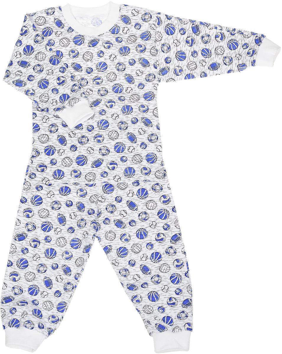Пижама для мальчика M&D, цвет: белый, синий. ПЖ180310. Размер 116ПЖ180310Пижама для мальчика состоящая из футболки с длинным рукавом и брюк выполнена из натурального хлопка. Футболка с длинными рукавами и круглым вырезом горловины. Вырез горловины и рукава дополнены трикотажными резинками. Брюки на талии имеют эластичную резинку, которая не позволяет брюкам сползать, не сдавливая животик ребенка. Низ брючин дополнен широкими эластичными манжетами. Оформлено изделие принтом в виде мячей.