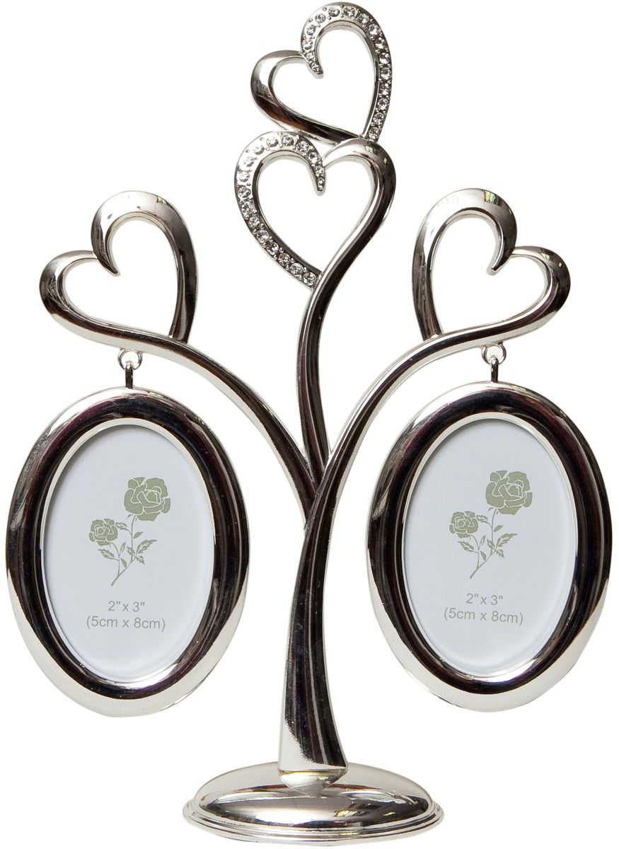 Фоторамка Platinum Дерево. Сердца, цвет: светло-серый, на 2 фото, 8 x 8 см. PF10019A фотоальбом platinum классика 240 фотографий 10 x 15 см