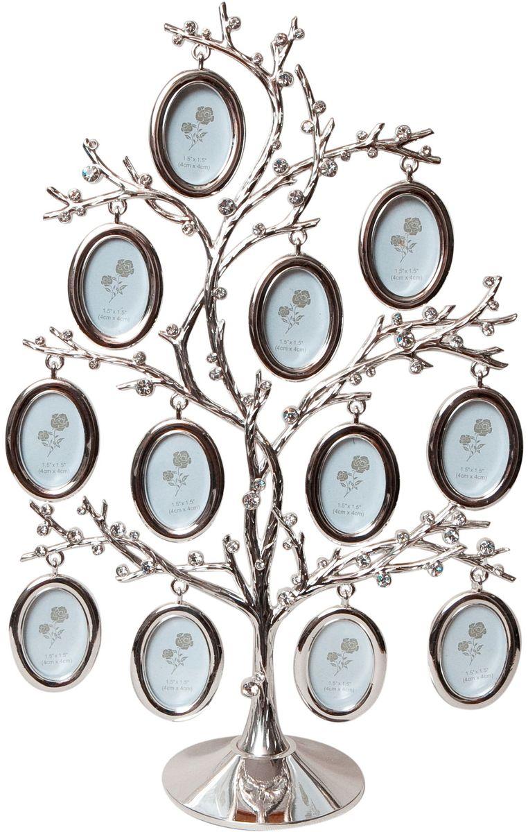 Фоторамка Platinum Дерево, цвет: светло-серый, на 12 фото, 3 x 4 см. PF10307 фоторамки platinum quality фоторамкавеселый жираф на 2 фото 5х8см