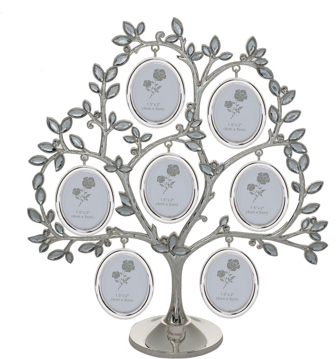 Фоторамка Platinum Дерево, цвет: светло-серый, на 7 фото, 4 x 5 см. PF107927 фоторамок на дереве PF10792Декоративная фоторамка Platinum Дерево выполнена из металла. На подставку в виде деревца подвешиваются семь овальных фоторамок. Листочки украшены стразами. Изысканная и эффектная, эта потрясающая рамочка покорит своей красотой и изумительным качеством исполнения. Фоторамка Platinum Дерево не только украсит интерьер помещения, но и поможет разместить фото всей вашей семьи. Высота фоторамки: 28 см. Фоторамка подходит для фотографий 4 х 5 см.Общий размер фоторамки: 24,5 х 6 х 28 см.