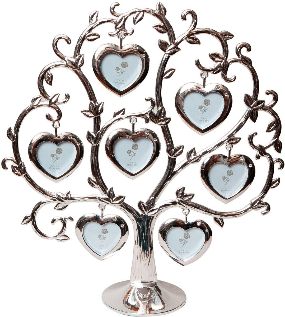 Фоторамка Platinum Дерево. Сердца, цвет: светло-серый, на 7 фото, 4 x 4 см. PF9460CS7 фоторамок на дереве PF9460CSДекоративная фоторамка Platinum Дерево. Сердца выполнена из металла. На подставку в виде деревца подвешиваются семь рамочек в форме сердец, украшенных стразами. Изысканная и эффектная, эта потрясающая рамочка покорит своей красотой и изумительным качеством исполнения. Фоторамка Platinum Дерево. Сердца не только украсит интерьер помещения, но и поможет разместить фото всей вашей семьи. Высота фоторамки: 25 см. Фоторамка подходит для фотографий 4 х 4 см.Общий размер фоторамки: 24 х 5 х 25 см.