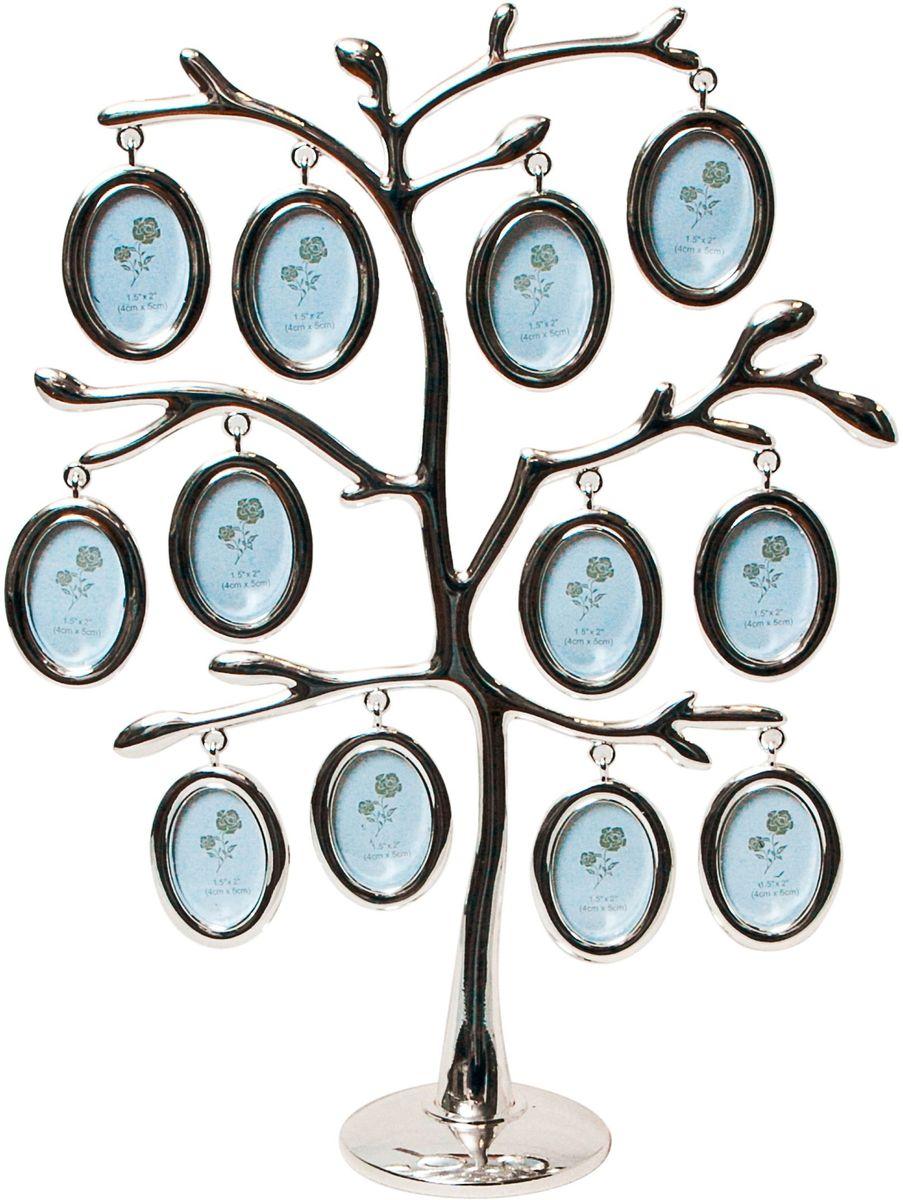 Фоторамка Platinum Дерево, цвет: светло-серый, на 12 фото, 3 x 4 см. PF9476C12 фоторамок на дереве PF9476CДекоративная фоторамка Platinum Дерево выполнена из металла. На подставку в виде деревца подвешиваются двенадцать овальных рамочек. Изысканная и эффектная, эта потрясающая рамочка покорит своей красотой и изумительным качеством исполнения. Фоторамка Platinum Дерево не только украсит интерьер помещения, но и поможет разместить фото всей вашей семьи. Высота фоторамки: 28 см. Фоторамка подходит для фотографий 3 x 4 см.Общий размер фоторамки: 23 х 4,5 х 28 см.