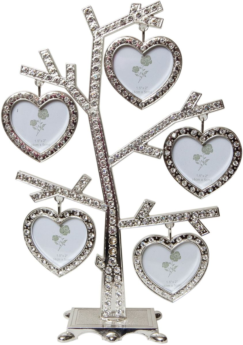 Фоторамка Platinum Дерево, цвет: светло-серый, на 5 фото, 5 x 6 см. PF96315 фоторамок на дереве PF9631Декоративная фоторамка Platinum Дерево выполнена из металла и декорирована стразами. На подставку в виде деревца подвешиваются пять фоторамок в форме сердца. Изысканная и эффектная, эта потрясающая рамочка покорит своей красотой и изумительным качеством исполнения. Декоративная фоторамкаPlatinum Дерево не только украсит интерьер помещения, но и поможет разместить фото всей вашей семьи.Высота фоторамки: 24 см.Фоторамка подходит для фотографий 5 x 6 см. Общий размер фоторамки: 18 х 4 х 24 см.