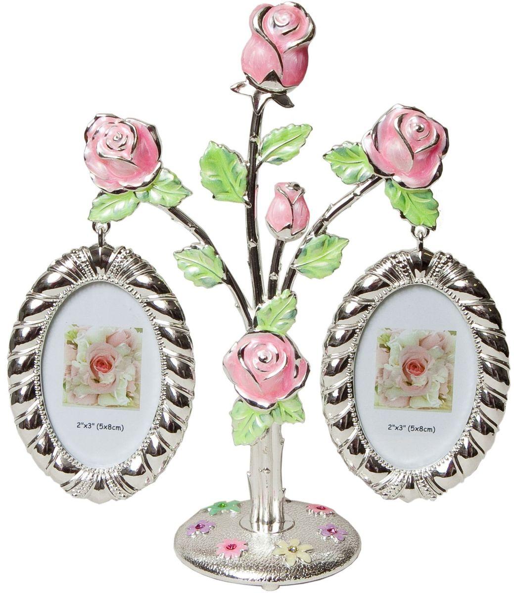 Фоторамка Platinum Дерево. Цветы, цвет: светло-серый, на 2 фото, 5 x 8 см. PF9675AP фоторамки русские подарки фоторамка
