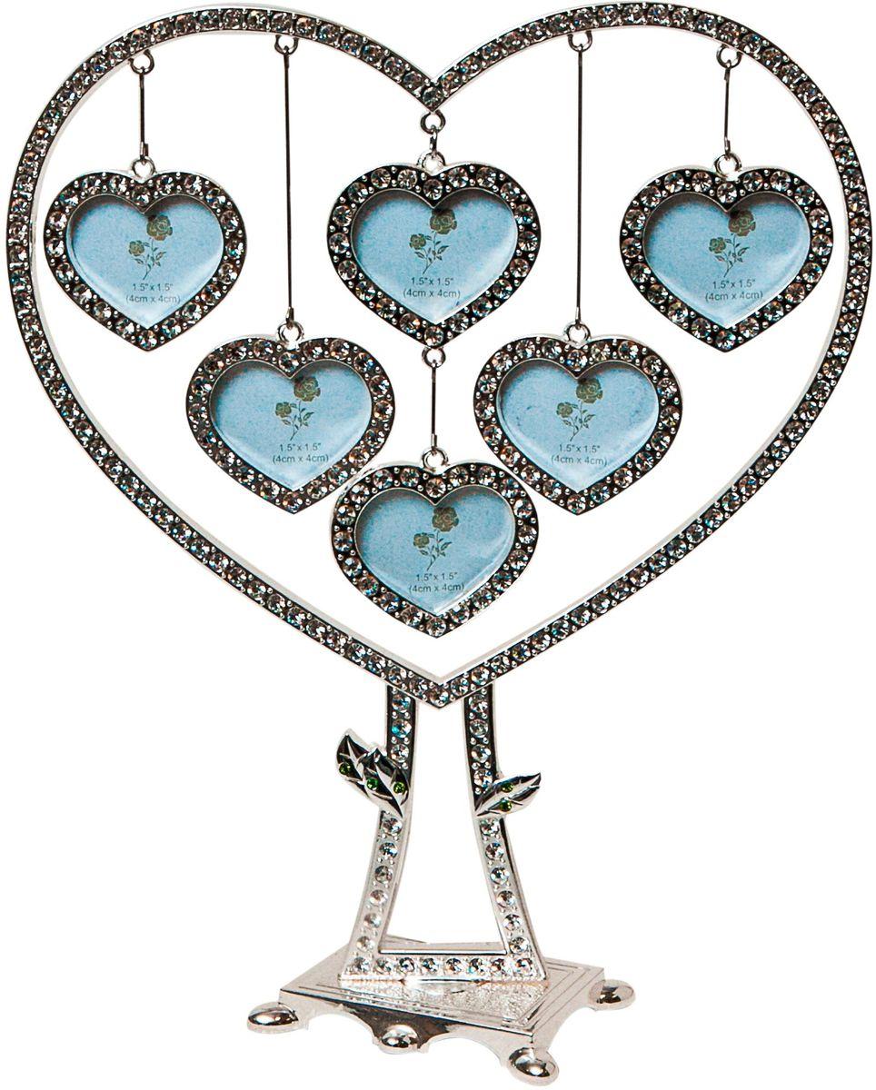 Фоторамка Platinum Дерево. Сердца, цвет: светло-серый, на 6 фото, 3 x 4 см. PF9705N фоторамки русские подарки фоторамка