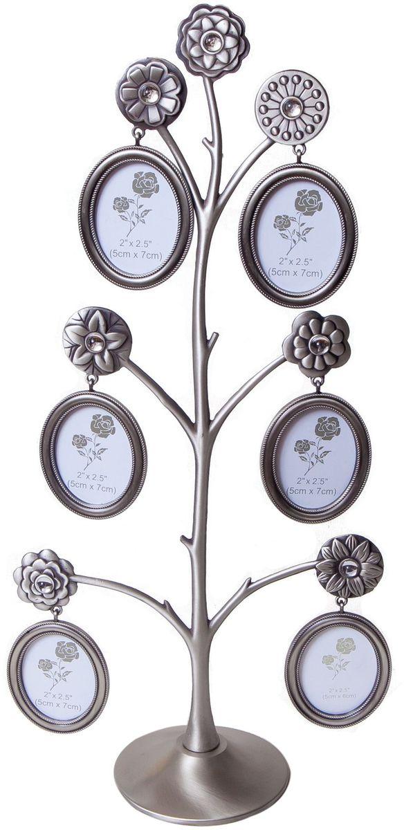 Фоторамка Platinum Дерево, цвет: светло-серый, на 6 фото, 5 x 7 см. PF99296 фоторамок на дереве PF9929Декоративная фоторамка Platinum Дерево выполнена из металла. На подставку в виде деревца подвешиваются шесть овальных фоторамок. Фоторамка украшена стазами. Изысканная и эффектная, эта потрясающая рамочка покорит своей красотой и изумительным качеством исполнения. Фоторамка Platinum Дерево не только украсит интерьер помещения, но и поможет разместить фото всей вашей семьи.Высота фоторамки: 40,3 см.Фоторамка подходит для фотографий 5 x 7 см. Общий размер фоторамки: 20,5 х 5 х 40,3 см.