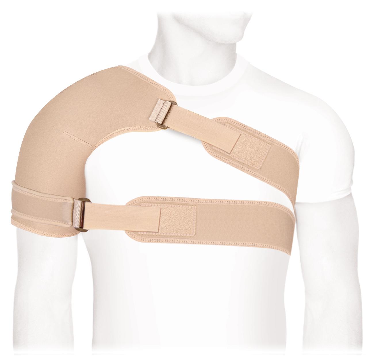 Бандаж на плечевой сустав с дополнительной фиксацией ФПС-03. Размер 3/LФПС-03 LОсобенности:• воздухопроницаемый износоустойчивый аэропрен• фиксация на липучке Велкро• универсальный, подходит для левой и правой руки• дополнительная лента для фиксации руки • цвет: бежевыйПоказания к применению:• сильная фиксация плечевого сустава, ранние реабилитационные сроки• острый плечелопаточный периартрит• консервативное лечение адгезивного капсулита• сильные, сочетанные травмы плечевого сустава• артроз ключично - акромиального сочленения 3 стадии (предоперационый период)• повреждения в области ключично - акромиального сочленения - 3, 4, 5, 6 типовИзмеряется обхват грудной клетки вместе с прижатой к груди рукой:M до110; L более110