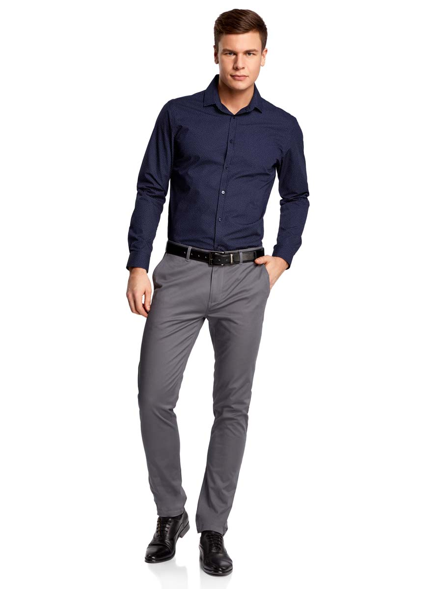 Рубашка мужская oodji Basic, цвет: темно-синий, белый. 3B110016M/19370N/7910D. Размер 43-182 (54-182) автоколонка pioneer ts 1302i 2 шт