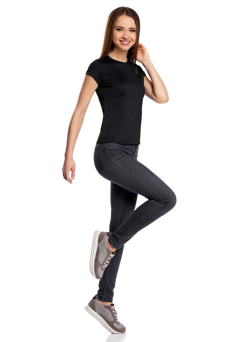 Футболка женская oodji Ultra, цвет: черный. 14711003-2B/45297/2900N. Размер XL (50)