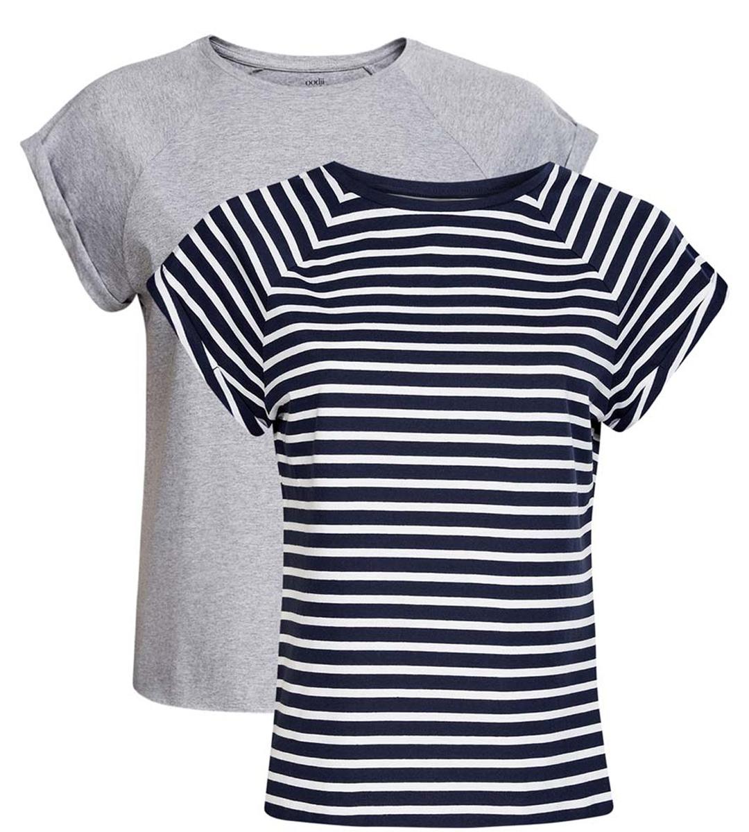 Футболка женская oodji Ultra, цвет: темно-синий, белый, серый меланж, 2 шт. 14707001T2/46154/1903S. Размер XS (42) футболка женская oodji ultra цвет темно синий 3 шт 14701008t3 46154 7900n размер xs 42