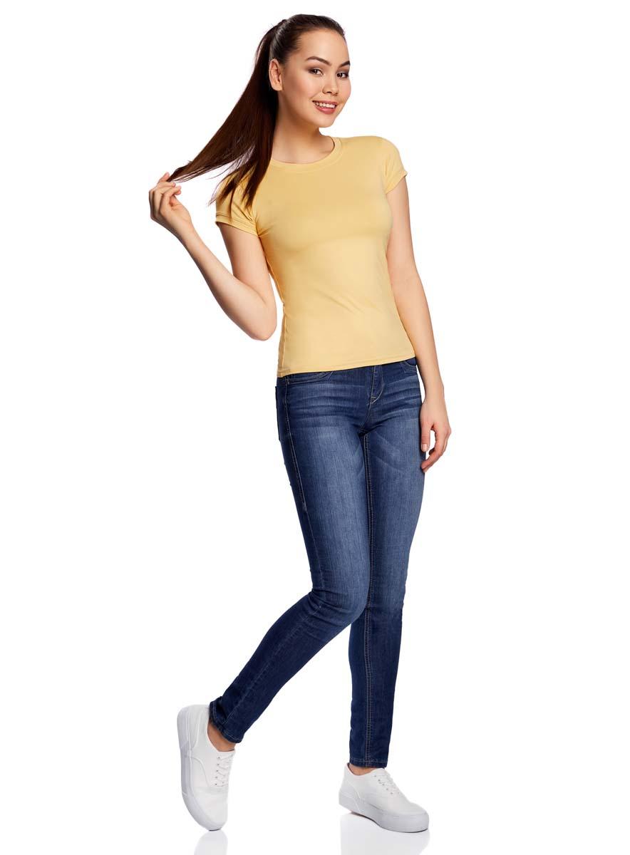 Футболка женская oodji Ultra, цвет: желтый. 14711003-2B/45297/5200N. Размер XL (50) футболка женская oodji ultra цвет бледно желтый 14701046 10577 5000n размер xl 50