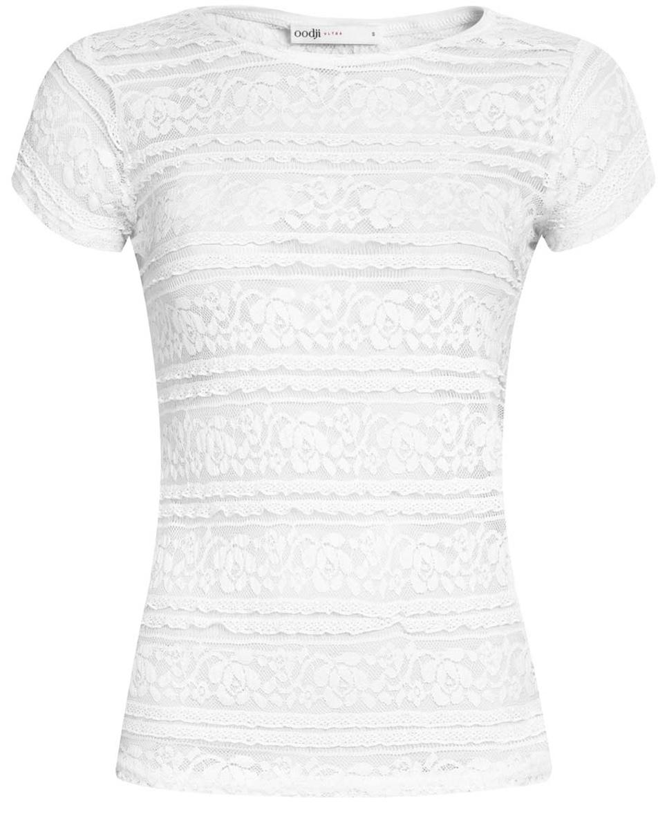 Футболка женская oodji Ultra, цвет: белый. 14701045/42279/1000N. Размер XL (50) пуловеры oodji пуловер