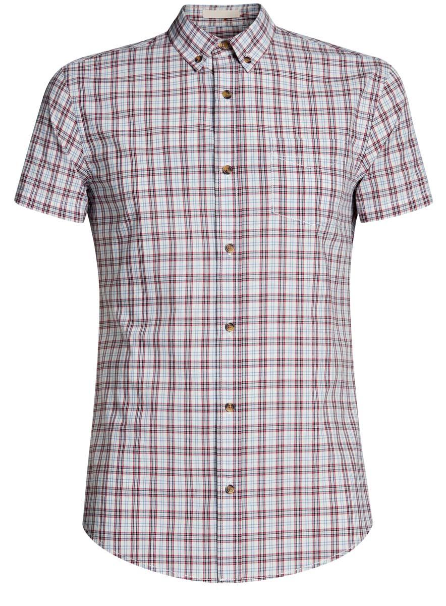 Рубашка мужская oodji Lab, цвет: белый, терракотовый. 3L410071M/44181N/1031C. Размер S-182 (46/48-182)3L410071M/44181N/1031CМужская рубашка от oodji выполнена из натурального хлопка. Модель с короткими рукавами застегивается на пуговицы.