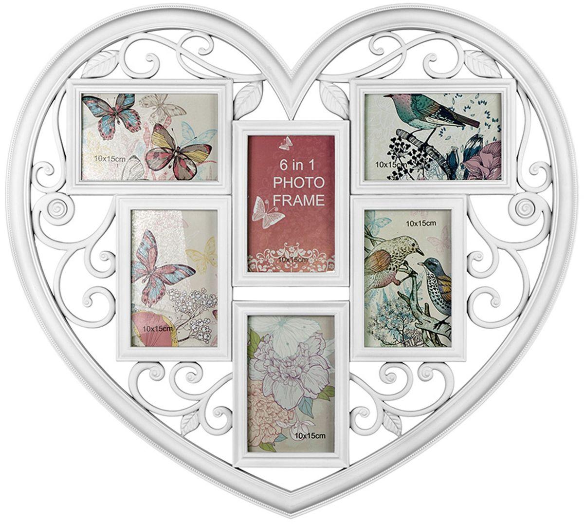 Фоторамка Platinum Сердце, цвет: белый, на 6 фото, 10 х 15 см. BIN-1123026 chk 184 фоторамка жемчужное сердце 15 15 1106460