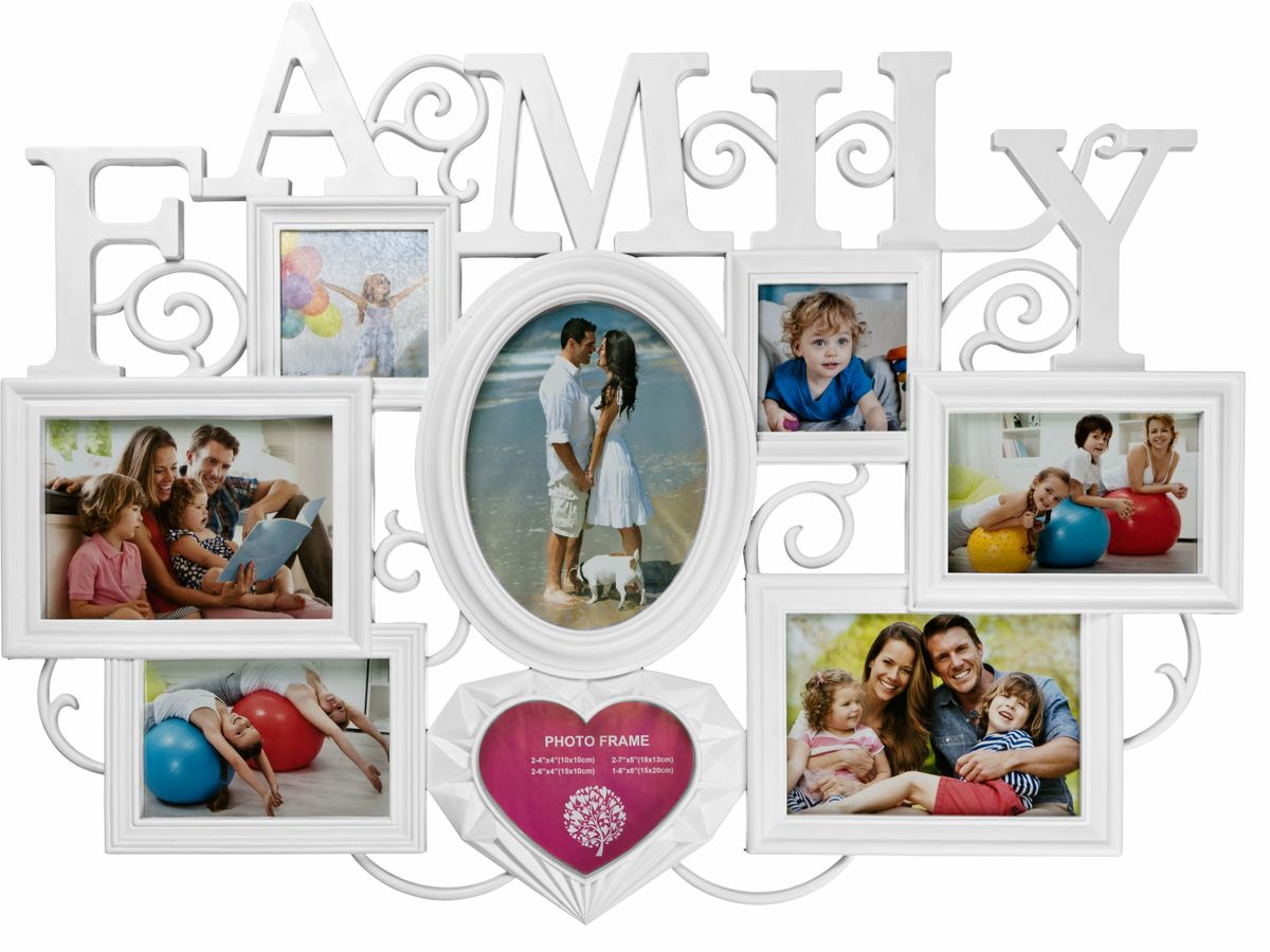 Коллаж Platinum Family, цвет: белый, 8 фоторамок. BIN-1123361