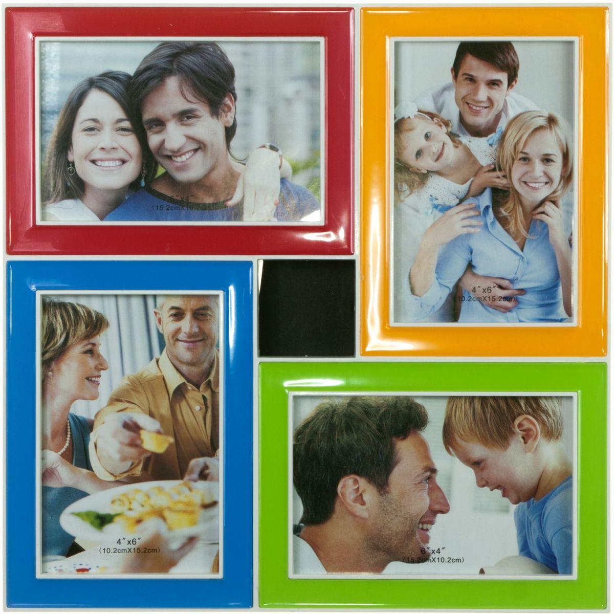Фоторамка Platinum, цвет: мультиколор, на 4 фото 10 х 15 смBIN-1123593-Color-Колор миксФоторамка Platinum - прекрасный способ красиво оформить ваши фотографии. Фоторамка выполнена из пластика и защищена стеклом. Фоторамка-коллаж представляет собой четыре фоторамки для фото одного размера оригинально соединенных между собой. Такая фоторамка поможет сохранить в памяти самые яркие моменты вашей жизни, а стильный дизайн сделает ее прекрасным дополнением интерьера комнаты. Фоторамка имеет подставку галстук для установки на стол и скобу для подвешивания на стену.Фоторамка подходит для фотографий 10 х 15 см.Общий размер фоторамки: 30 х 30 см.