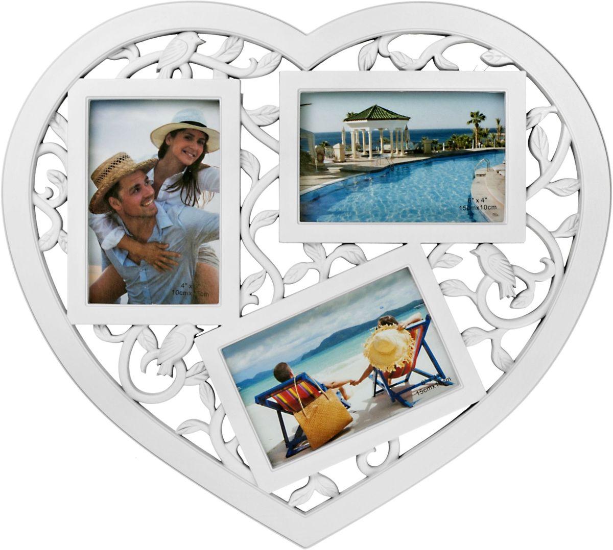 Фоторамка Platinum Сердце, цвет: белый, на 3 фото 10 х 15 смBIN-1123678-White-БелыйФоторамка Platinum Сердце - прекрасный способ красиво оформить ваши фотографии. Фоторамка выполнена из пластика в виде сердца и защищена стеклом.Фоторамка-коллаж представляет собой три фоторамки для фото одного размера оригинально соединенных между собой. Такая фоторамка поможет сохранить в памяти самые яркие моменты вашей жизни, а стильный дизайн сделает ее прекрасным дополнением интерьера комнаты. Фоторамка подходит для фотографий 10 х 15 см. Общий размер фоторамки: 41 х 38 см.