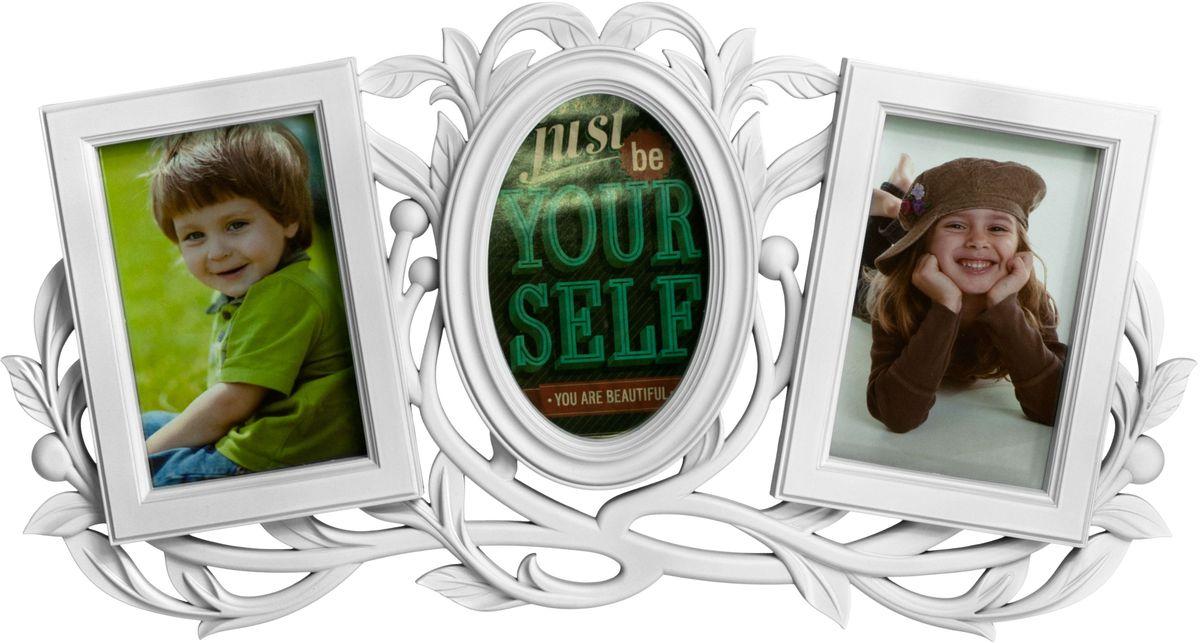 Фоторамка Platinum, цвет: белый, на 3 фото 10 х 15 см фотоальбом platinum классика 240 фотографий 10 x 15 см