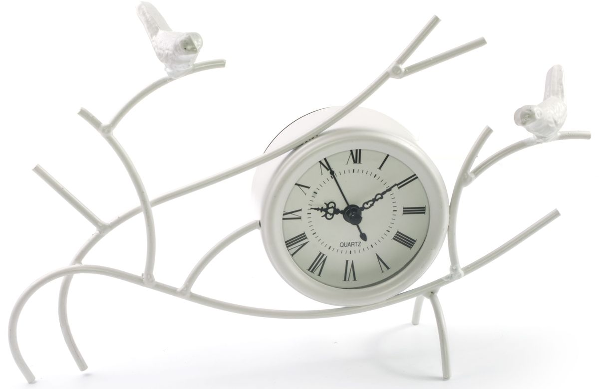 Часы настольные Miralight Птицы на веткахML-1366 White Часы настольные белые Птицы на веткахНастольные часы Miralight Птицы на ветках оформлены композицией в виде веток с двумяптицами. Корпус часов изготовлен из металла и пластика. Циферблат оформлен римскимицифрами, имеет 3 стрелки - часовую, минутную, секундную и защищен стеклом.Питаниеосуществляется от одной батарейки типа АА (не входит в комплект).Оригинальный дизайн будильника впишется в любую обстановку.Часы могут статьуникальным, полезным подарком для родственников, коллег, знакомых и близких. Диаметр циферблата: 7 см.