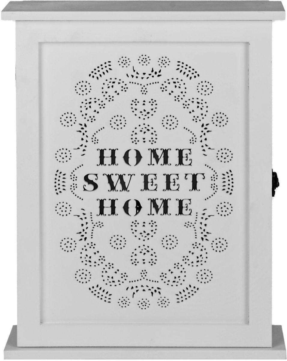 Ключница Miralight, с резной дверцей, цвет: белый, 26 х 6,2 х 33,2 смML-3960 Ключница белая с резной дверцейКлючница Miralight, выполненная из МДФ, украсит интерьер помещения, а также поможет создать атмосферу уюта. Ключница, оформленная в прованском стиле, станет не только украшением вашего дома, но и послужит функционально: она представляет собой ящичек, внутри которого предусмотрены металлические крючки для ключей. Изделие имеет резную дверцу, и декорировано надписью Home, sweet home.