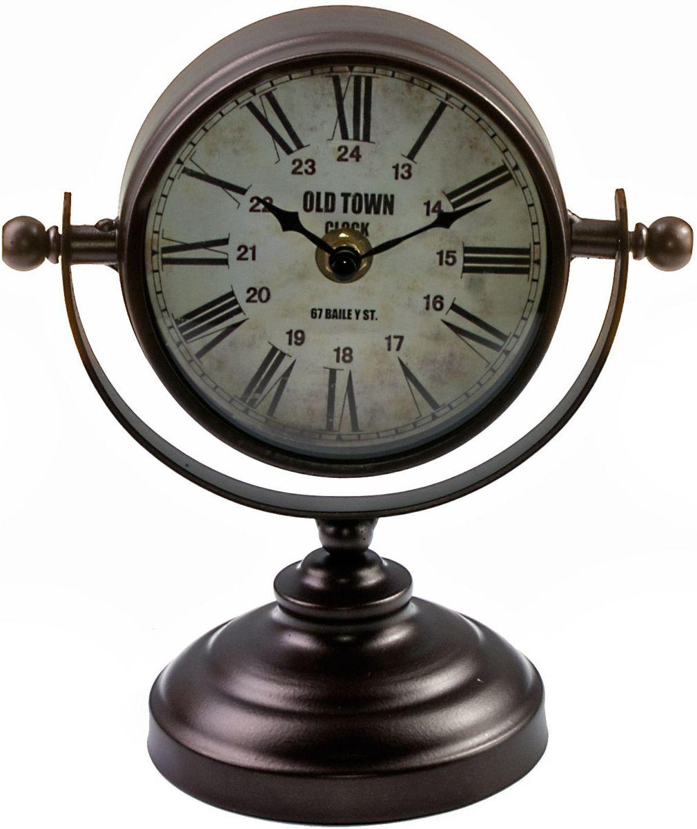 Часы настольные Miralight Copper, на подставке, цвет: темная медьML-5161 Copper Часы настольные на подставке, тёмная медьЧасы настольные Miralight Copper, изготовленные из металла, прекрасно украсят интерьер вашего помещения. Часы, выполненные в модномстилеретро, имеют оригинальную подставку для удобного размещения на столе и массивный металлический корпус. Состаренный циферблат круглойформы имеет две стилизованныефигурные стрелки: часовую и минутную и элегантные римские цифры.Питаниеосуществляется от одной батарейки типа АА (не входит в комплект).Оформите свой дом таким интерьерным аксессуаром или преподнесите его в качестве презента друзьям, и они оценят ваш оригинальный вкус инеординарность подарка.