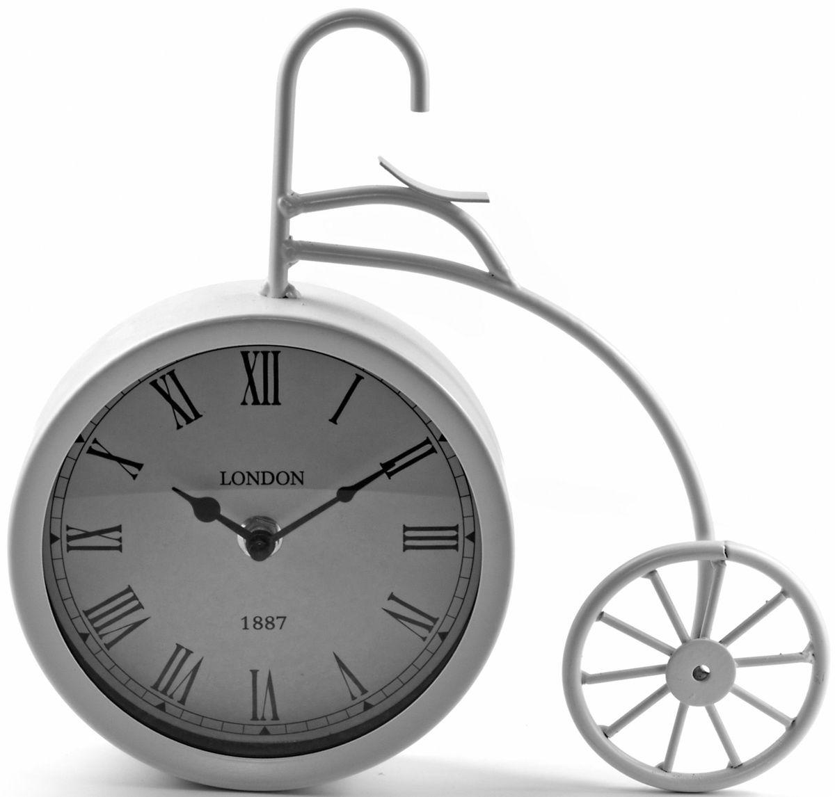 Часы настольные Miralight Велосипед, цвет: белыйML-5379 White Часы настольные Велосипед белый большойНастольные часы Miralight Велосипед, изготовленные из металла, прекрасно украсят интерьер вашего помещения. Часы выполнены в виде старинного двухколесного велосипеда. Циферблат круглой формы имеет две стилизованные фигурные стрелки: часовую и минутную и элегантные римские цифры. Питание осуществляется от одной батарейки типа АА (не входит в комплект).Оформите свой дом таким интерьерным аксессуаром или преподнесите его в качестве презента друзьям, и они оценят ваш оригинальный вкус инеординарность подарка.