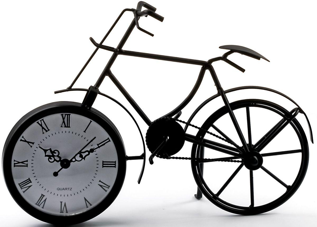 Часы настольные Miralight Велосипед,.ML-5388ML-5388 Dark black Часы настольные Велосипед чёрныйНастольные часы Miralight Велосипед, изготовленные из металла, прекрасно украсят интерьер вашего помещения. Часы выполнены в виде старинного двухколесного велосипеда. Циферблат круглой формы имеет три стилизованные фигурные стрелки: часовую, минутную и секундную и элегантные римские цифры.Питание осуществляется от одной батарейки типа АА (не входит в комплект). Оформите свой дом таким интерьерным аксессуаром или преподнесите его в качестве презента друзьям, и они оценят ваш оригинальный вкус и неординарность подарка.