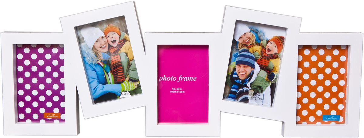 Фоторамка Platinum, цвет: белый, на 5 фото 10 х 15 см. BH-1305PLATINUM BH-1305-White-БелыйФоторамка Platinum - прекрасный способ красиво оформить ваши фотографии. Фоторамка выполнена из пластика и защищена стеклом. Фоторамка-коллаж представляет собой пять фоторамок для фото одного размера оригинально соединенных между собой. Такая фоторамка поможет сохранить в памяти самые яркие моменты вашей жизни, а стильный дизайн сделает ее прекрасным дополнением интерьера комнаты. Фоторамка подходит для фотографий: 10 х 15 см.Общий размер фоторамки: 62 х 23 см.Размер окошечка с фото: 9 х 14 см.
