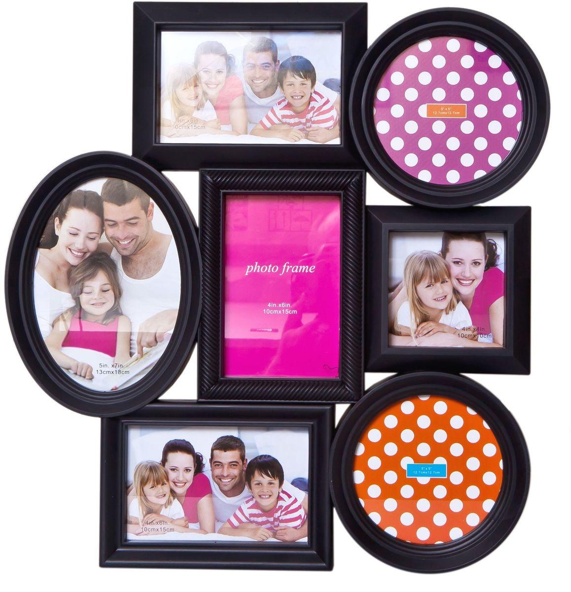 Фоторамка Platinum, цвет: черный, на 7 фото. BH-1307PLATINUM BH-1307-Black-ЧёрныйФоторамка Platinum - прекрасный способ красиво оформить ваши фотографии. Фоторамка выполнена из пластика и защищена стеклом.Фоторамка-коллаж представляет собой семь фоторамок для фото разного размера оригинально соединенных между собой. Такая фоторамка поможет сохранить в памяти самые яркие моменты вашей жизни, а стильный дизайн сделает ее прекрасным дополнением интерьера комнаты. Фоторамка подходит для фото следующих размеров: 13 х 18 см, 3 фото 10 х 15 см, 2 фото 12,7 х 12,7 см и 10 х 10 см. Общий размер фоторамки: 41 х 43 см.