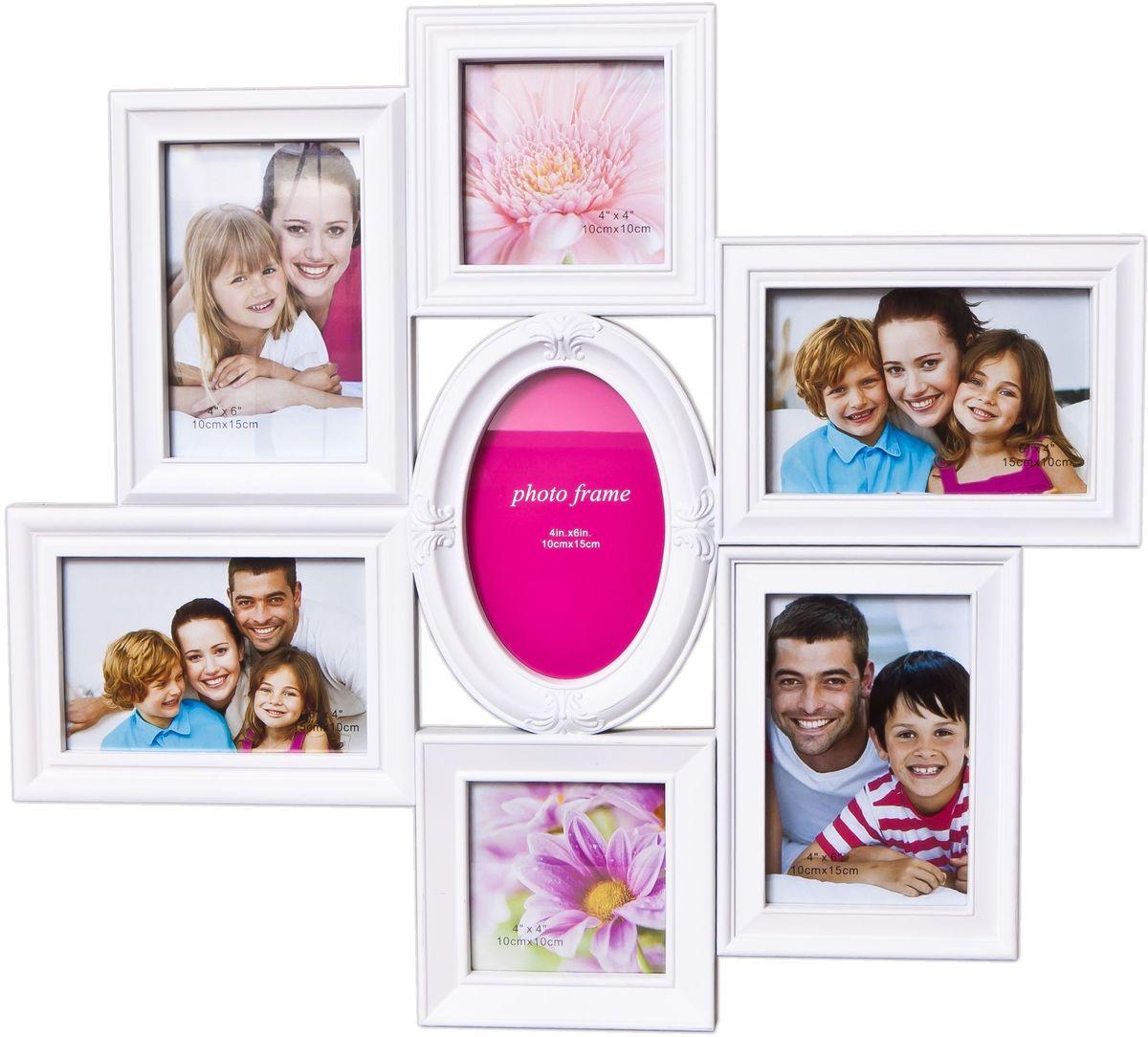 Коллаж Platinum, цвет: белый, 7 фоторамок. BH-1313PLATINUM BH-1313-White-БелыйФоторамка-коллаж Platinum - прекрасный способ красиво оформить ваши фотографии. Фоторамка выполнена из пластика и защищена стеклом. Фоторамка-коллаж представляет собой семь фоторамок для фото разного размера оригинально соединенных между собой. Такая фоторамка поможет сохранить в памяти самые яркие моменты вашей жизни, а стильный дизайн сделает ее прекрасным дополнением интерьера комнаты.Фоторамка подходит для 7 фотографий: 2 фото 10 х 10 см , 5 фото 10 х 15 см.