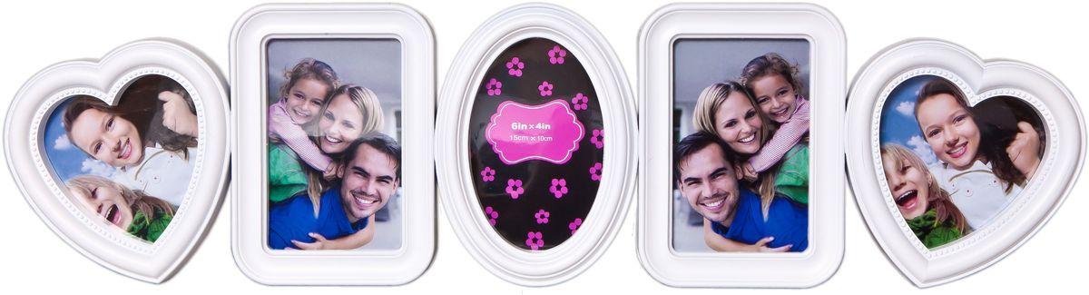 Фоторамка Platinum, цвет: белый, на 5 фотоPLATINUM BH-1315-White-БелыйФоторамка Platinum - прекрасный способ красиво оформить ваши фотографии. Фоторамка выполнена из пластика и защищена стеклом. Фоторамка-коллаж оригинального дизайна представляет собой фоторамку на пять фото разного размера. Такая фоторамка поможет сохранить в памяти самые яркие моменты вашей жизни, а стильный дизайн сделает ее прекрасным дополнением интерьера комнаты.Фоторамка подходит для 2 фото 10 х 10 см и 3 фото 10 х 15 см.Общий размер фоторамки: 70 х 19 см.