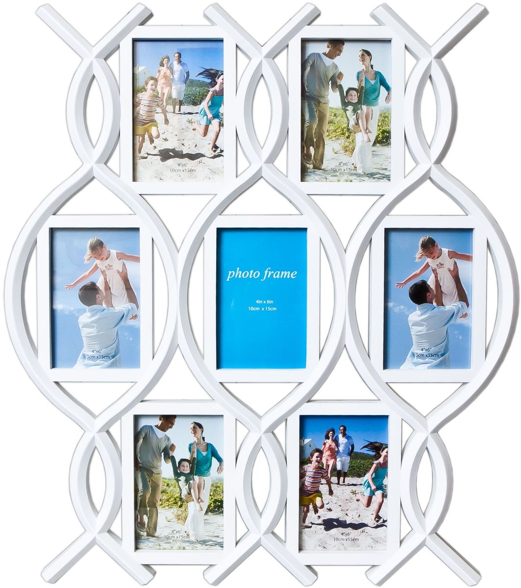 Фоторамка Platinum, цвет: белый, на 7 фото 10 х 15 см. BH-1407PLATINUM BH-1407-White-БелыйФоторамка Platinum - прекрасный способ красиво оформить ваши фотографии. Фоторамка выполнена из пластика и защищена стеклом. Фоторамка-коллаж представляет собой семь фоторамок для фото одного размера оригинально соединенных между собой. Такая фоторамка поможет сохранить в памяти самые яркие моменты вашей жизни, а стильный дизайн сделает ее прекрасным дополнением интерьера комнаты. Фоторамка подходит для фотографий 10 х 15 см.Общий размер фоторамки: 51 х 58 см.
