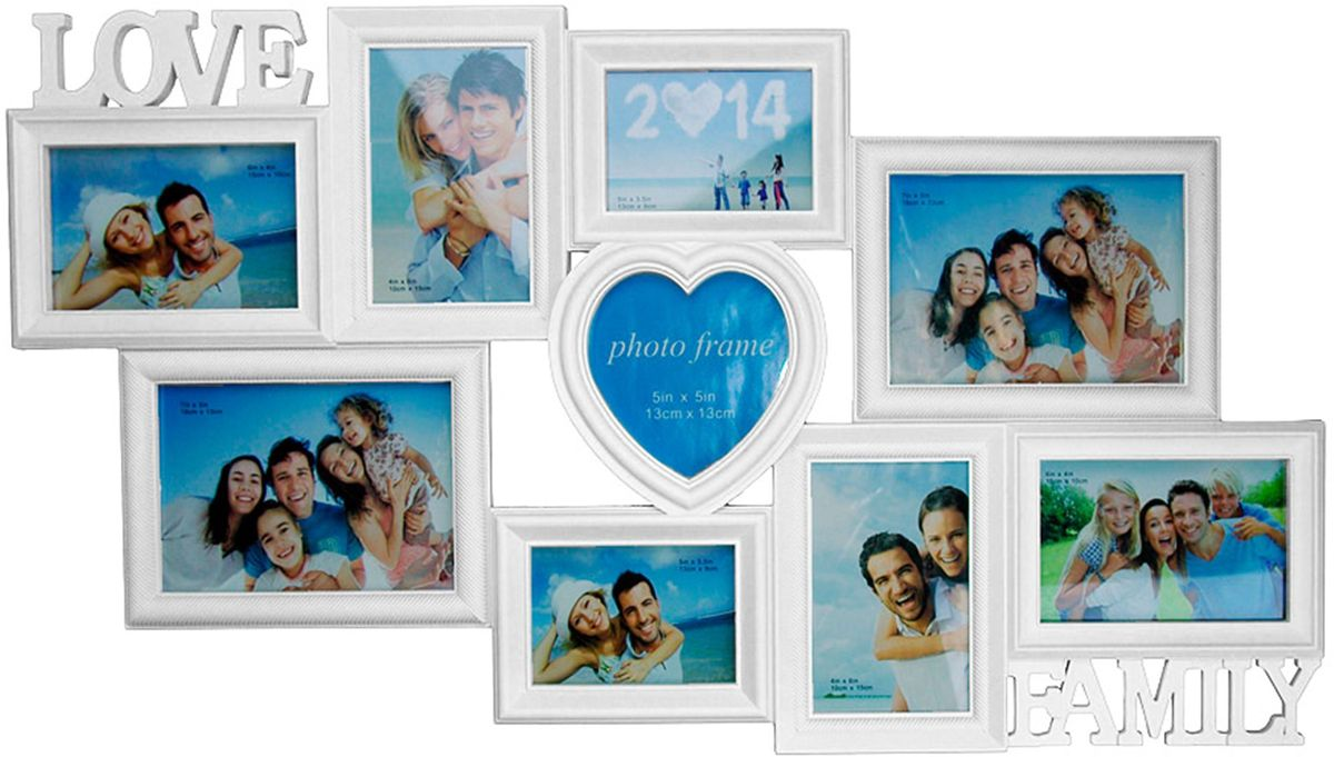 Коллаж Platinum Love. Family, цвет: белый, 9 фоторамок. BH-1409PLATINUM BH-1409-White-БелыйПластиковый коллаж с 4 фото 10х15 см, 2 фото 13х18 см, 2 фото 9х13 см, 1 фото 13х13 см.