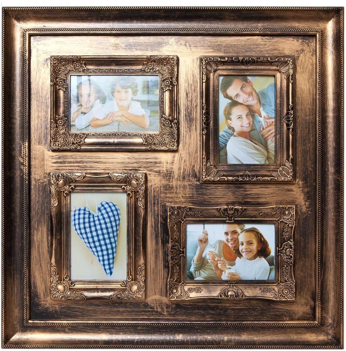Фоторамка Platinum, цвет: золотистый, на 4 фото 10 х 15 смPLATINUM BIN-112134 Золотой (Gold)Фоторамка Platinum - прекрасный способ красиво оформить ваши фотографии. Фоторамка выполнена из пластика и защищена стеклом. Фоторамка-коллаж оригинального дизайна представляет собой фоторамку на четыре фото одного размера. Такая фоторамка поможет сохранить в памяти самые яркие моменты вашей жизни, а стильный дизайн сделает ее прекрасным дополнением интерьера комнаты.Фоторамка подходит для фотографий 10 х 15 см.Общий размер фоторамки: 53 х 53 см.