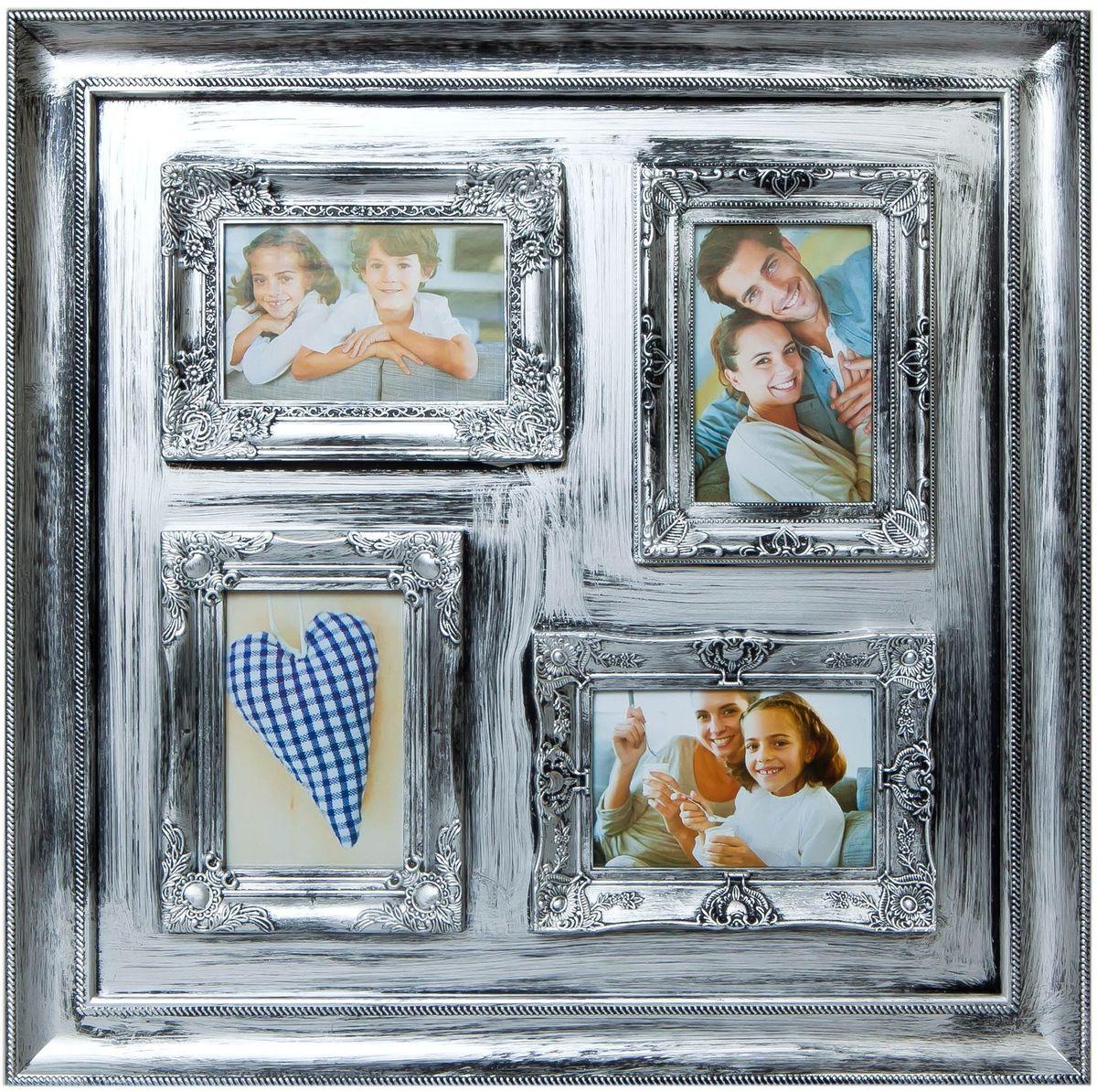 Фоторамка Platinum, цвет: серебристый, на 4 фото 10 х 15 см фоторамка птица 10 x 15 см 25808