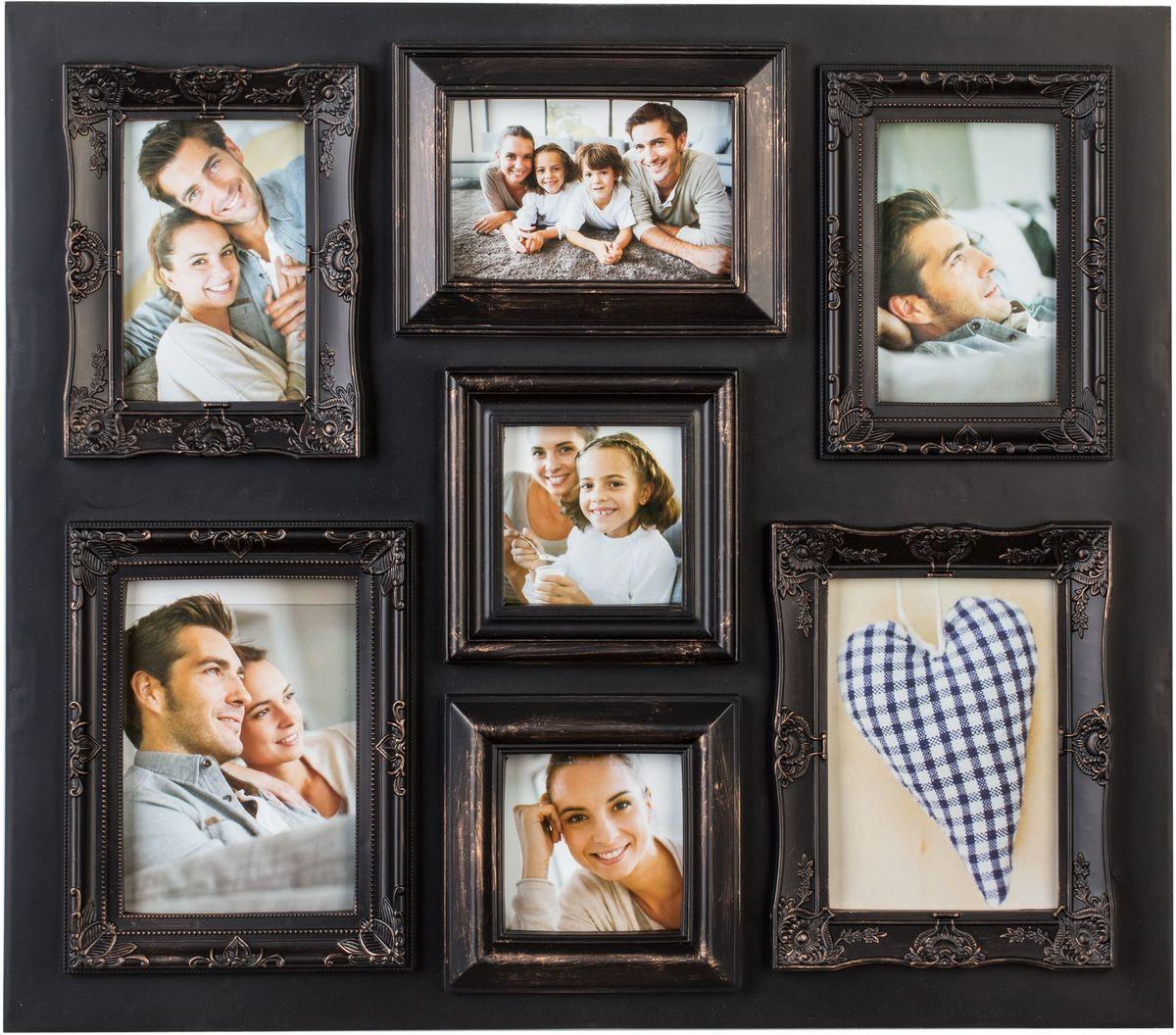 Фоторамка Platinum, цвет: античный коричневый, на 7 фото фоторамка platinum аркола цвет коричневый 15 x 21 см