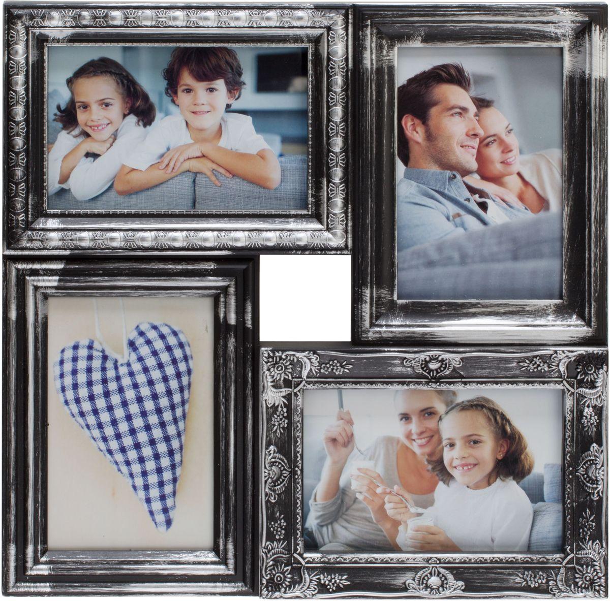 Фоторамка Platinum, цвет: черный, серебристый, на 4 фото 10 х 15 см. BIN-112181PLATINUM BIN-112181 Чёрный с серебром (Black with silver)Фоторамка Platinum - прекрасный способ красиво оформить ваши фотографии. Фоторамка выполнена из пластика и защищена стеклом. Фоторамка-коллаж представляет собой четыре фоторамки для фото одного размера оригинально соединенных между собой. Такая фоторамка поможет сохранить в памяти самые яркие моменты вашей жизни, а стильный дизайн сделает ее прекрасным дополнением интерьера комнаты.Фоторамка подходит для фотографий 10 х 15 см.Общий размер фоторамки: 33 х 33 см.