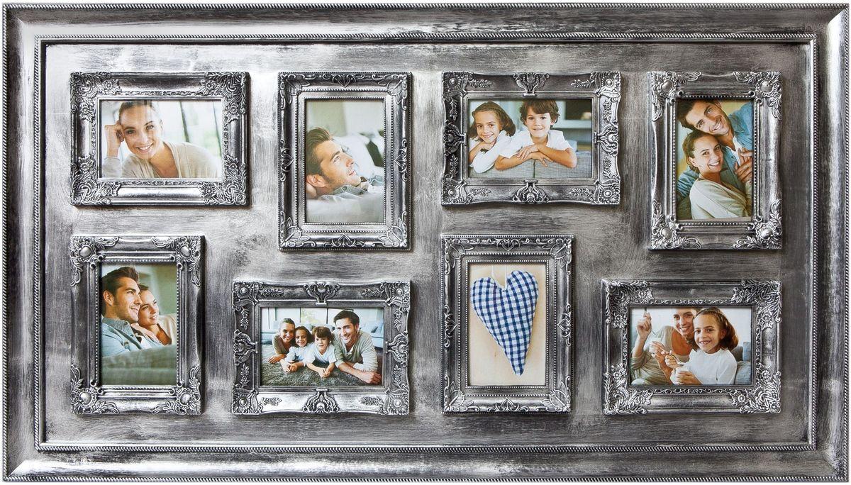 Фоторамка Platinum, цвет: серебристый, на 8 фото 10 х 15 смPLATINUM BIN-1122571 Серебряный (Silver)Фоторамка Platinum - прекрасный способ красиво оформить ваши фотографии. Фоторамка выполнена из пластика и защищена стеклом.Фоторамка-коллаж оригинального дизайна представляет собой фоторамку на восемь фото одного размера. Такая фоторамка поможет сохранить в памяти самые яркие моменты вашей жизни, а стильный дизайн сделает ее прекрасным дополнением интерьера комнаты. Фоторамка подходит для фотографий 10 х 15 см. Общий размер фоторамки: 34 х 53 см.