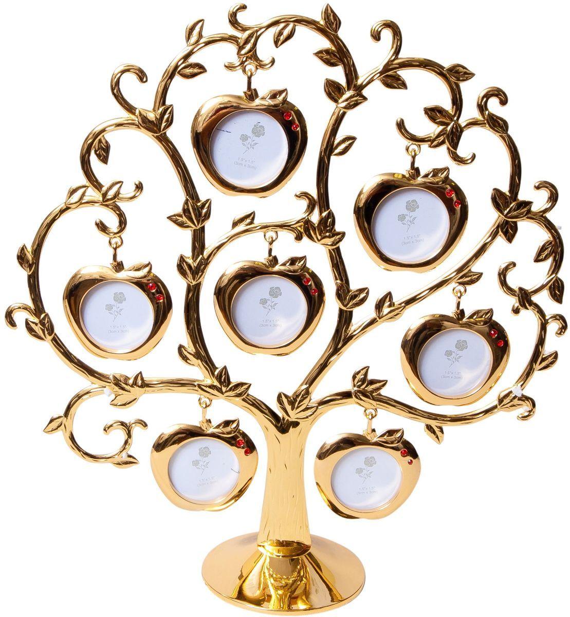Фоторамка Platinum Дерево. Яблоки, цвет: золотистый, на 7 фото, 4 x 4 см. PF9460ASG7 фоторамок на дереве PF9460ASG GOLDДекоративная фоторамка Platinum Дерево. Яблоки выполнена из металла. На подставку в виде деревца подвешиваются семь фоторамок в форме яблок, украшенных стразами. Изысканная и эффектная, эта потрясающая рамочка покорит своей красотой и изумительным качеством исполнения. Фоторамка Platinum Дерево. Яблоки не только украсит интерьер помещения, но и поможет разместить фото всей вашей семьи.Высота фоторамки: 26 см.Фоторамка подходит для фотографий 4 х 4 см. Общий размер фоторамки: 23,5 х 5 х 26 см.