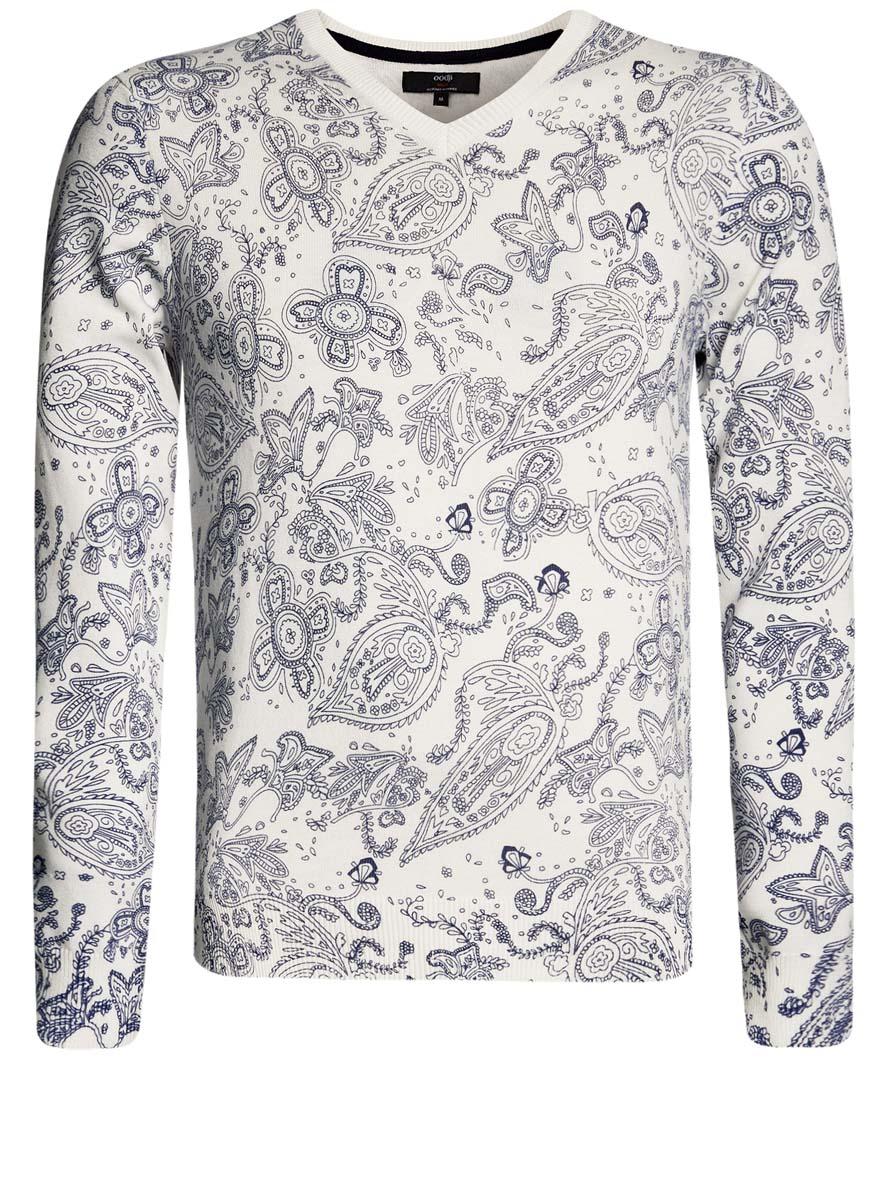 Пуловер мужской oodji Lab, цвет: белый, синий. 4L212145M/21655N/1275E. Размер M (50)4L212145M/21655N/1275EМужской пуловер от oodji выполнен из хлопковой пряжи. Модель с принтом, V-образным вырезом горловины и длинными рукавами.